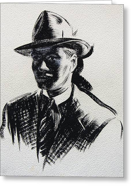 Secret Agent Study 3 Greeting Card by Robert Poole