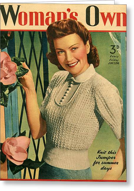 1940s Uk Womans Own Magazine Cover Greeting Card by The Advertising Archives