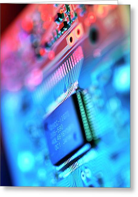 Circuit Board Greeting Card by Tek Image