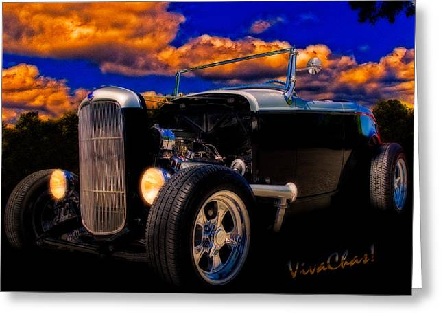 32 Ford Roadster In Silver An Black Greeting Card