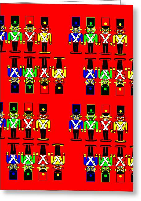 32 Nutcracker Soldiers On Red Greeting Card by Asbjorn Lonvig