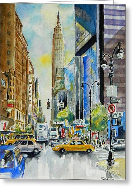 34th St. And 8th Ave Greeting Card by William Reed