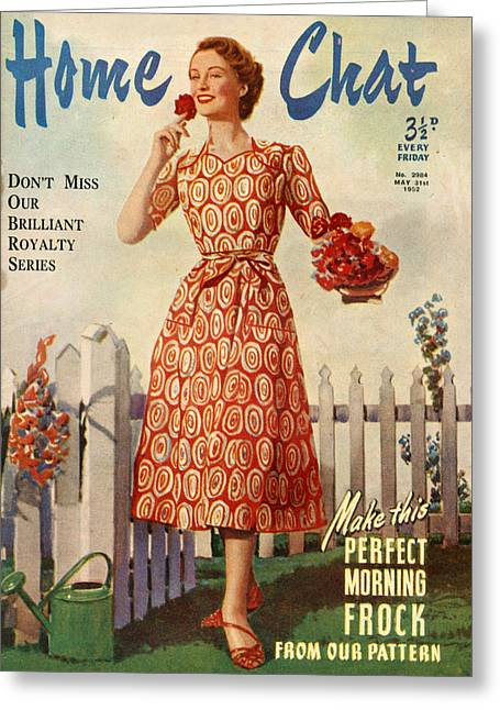 1950s Uk Home Chat Magazine Cover Greeting Card
