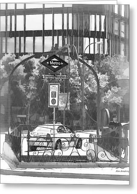 36 Gregorio Maranon Metro Madrid Greeting Card by Alan Armstrong
