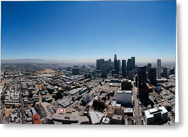 360 Degree View Of A City, City Of Los Greeting Card by Panoramic Images