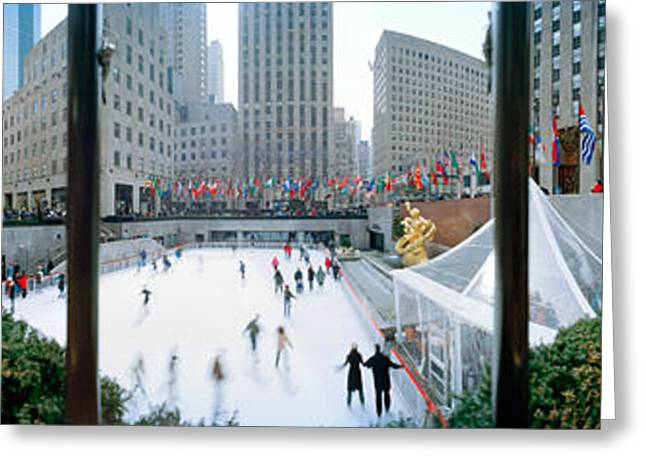 360 Degree View Of A City, Rockefeller Greeting Card