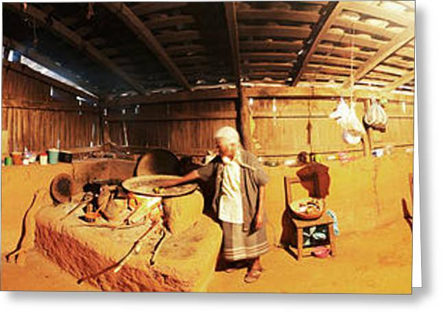 360 Degree View Of A Woman Cooking Greeting Card