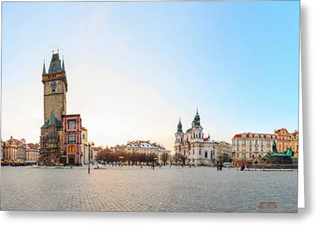 360 Degree View Of Old Town Square Greeting Card