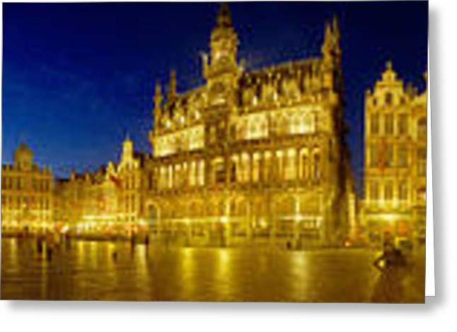 360 Degree View Of The Grand Place Lit Greeting Card by Panoramic Images
