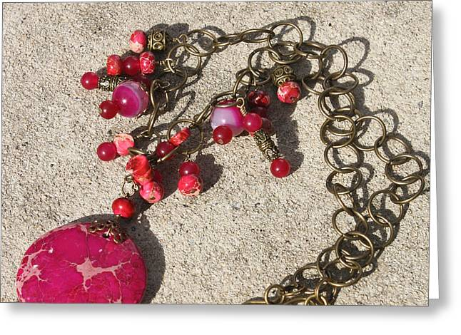 3641 Pink Imperial Jasper Pendant Necklace Greeting Card by Teresa Mucha