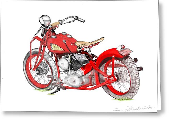 Greeting Card featuring the drawing 37 Chief Bobber by Terry Frederick