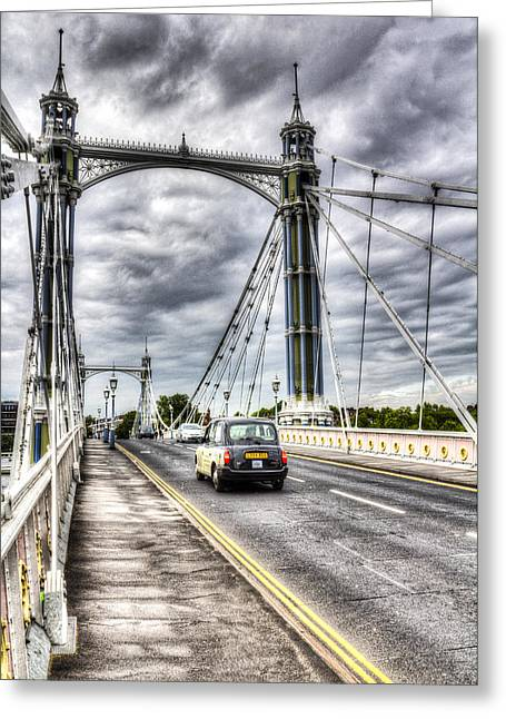 The Albert Bridge London Greeting Card by David Pyatt