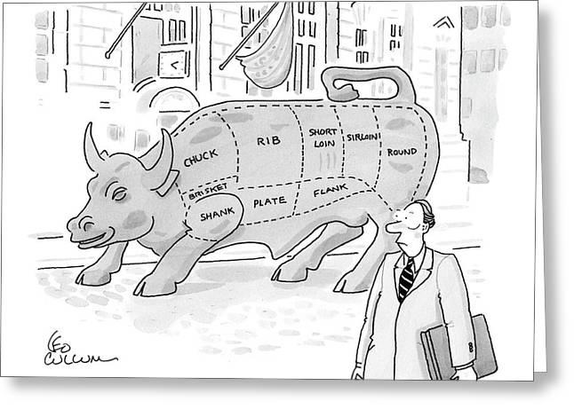 Wallstreet Bull Greeting Card