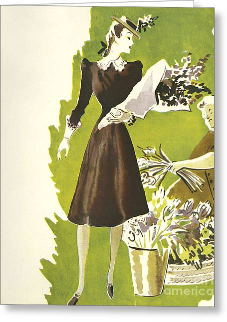 WomenÕs Fashion 1930s 1939 1930s Uk Greeting Card by The Advertising Archives