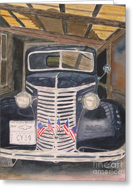 39 Chevy Greeting Card by Peggy Dickerson