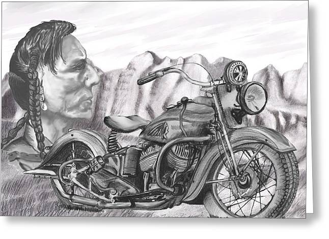 Greeting Card featuring the drawing 39 Scout by Terry Frederick