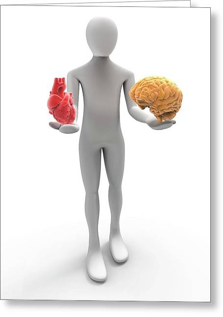 3d Human With Heart And Brain Greeting Card by Alfred Pasieka