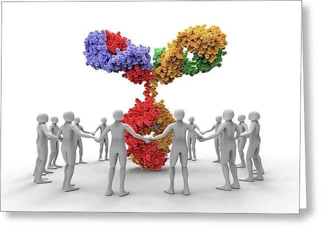 3d Men Around An Antibody Molecule Greeting Card by Alfred Pasieka
