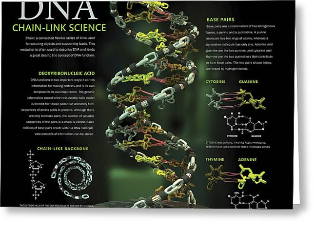 3d Poster Illustration Of Dna Greeting Card by Nicholas Mayeux