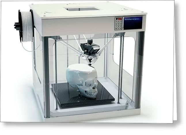 3d Printer Printing Skull Greeting Card