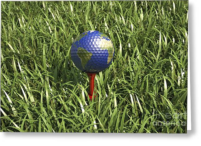3d Rendering Of An Earth Golf Ball Greeting Card