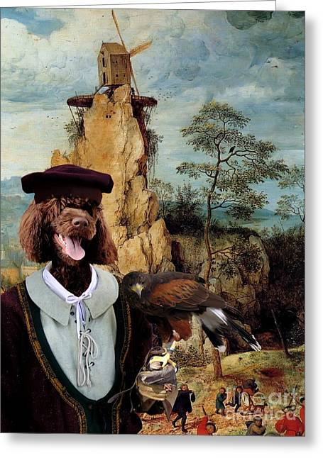 Portuguese Water Dog - Cao De Agua Portugues Art Canvas Print Greeting Card