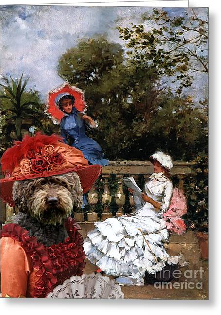 Spanish Water Dog - Perro De Agua Espanol Art Canvas Print Greeting Card by Sandra Sij