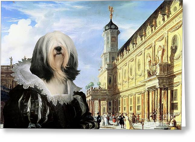 Tibetan Terrier Art Canvas Print Greeting Card by Sandra Sij