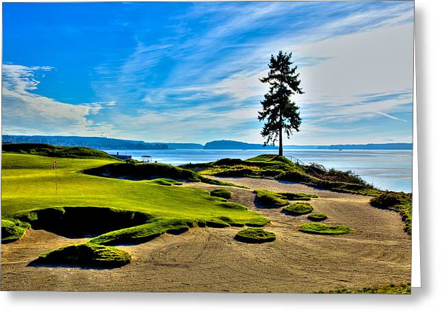 #15 At Chambers Bay Golf Course - Location Of The 2015 U.s. Open Tournament Greeting Card by David Patterson