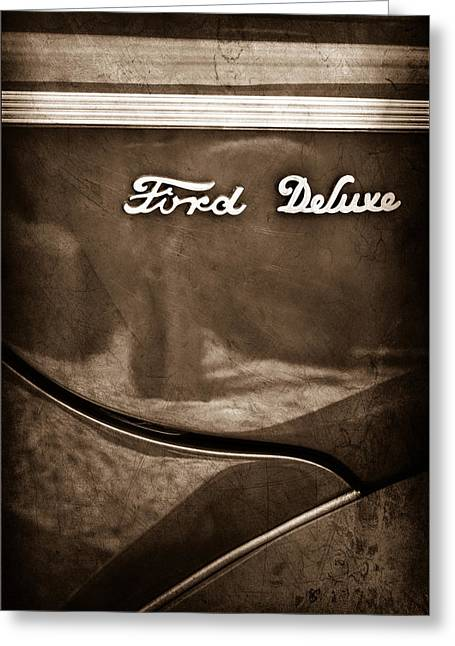 1940 Ford Deluxe Coupe Emblem Greeting Card by Jill Reger