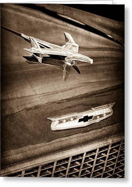 1955 Chevrolet Belair Hood Ornament Greeting Card by Jill Reger