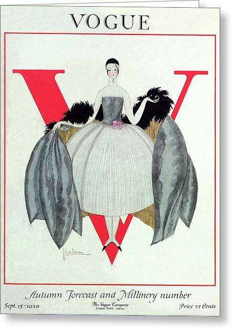 A Vogue Magazine Cover Of A Woman Greeting Card by Georges Lepape