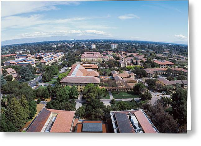 Aerial View Of Stanford University Greeting Card by Panoramic Images
