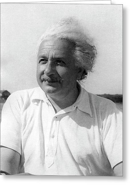Albert Einstein Greeting Card by Emilio Segre Visual Archives/american Institute Of Physics