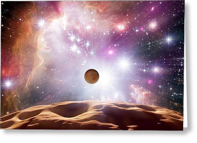 Alien Planet And Star Cluster Greeting Card