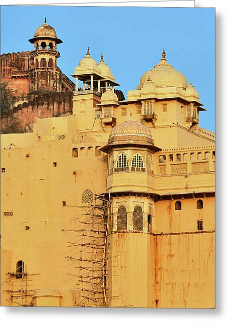 Amber Fort, Jaipur, India Greeting Card by Adam Jones