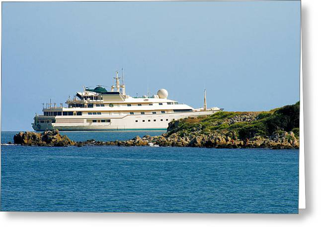 Antibes - Superyachts Of Billionaires Greeting Card by Christine Till