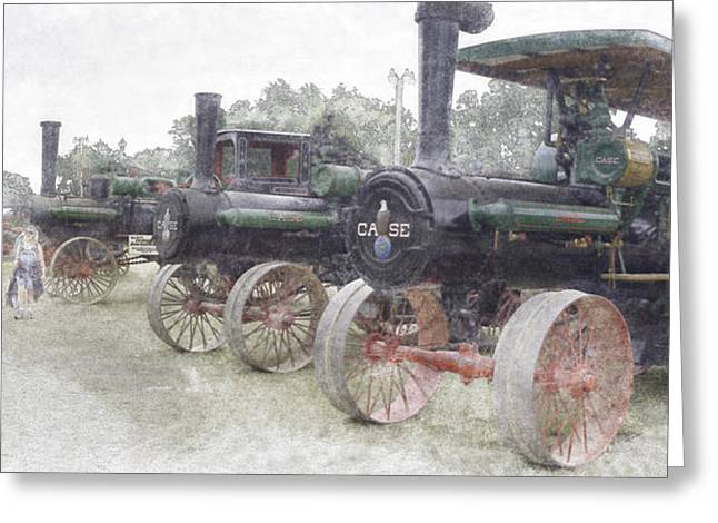 Antique Tractors Greeting Card by Tim Mulholland