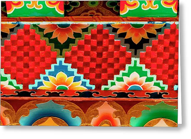 Art In Buddhist Monastery Architecture Greeting Card by Jaina Mishra