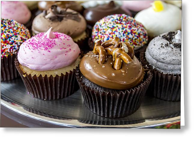 Assorted Flavors Of Cupcake On Display Greeting Card