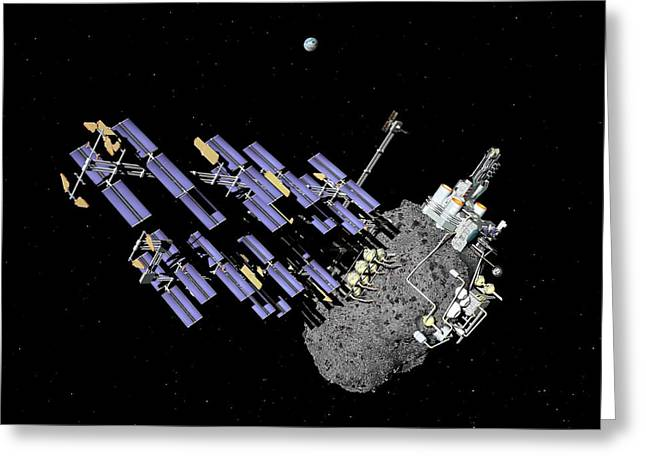 Asteroid Mining Outpost Greeting Card by Walter Myers