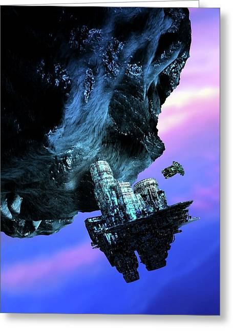 Asteroid Mining Greeting Card by Victor Habbick Visions/science Photo Library