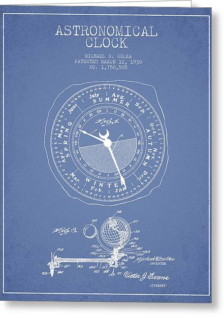 Astronomical Clock Patent From 1930 Greeting Card