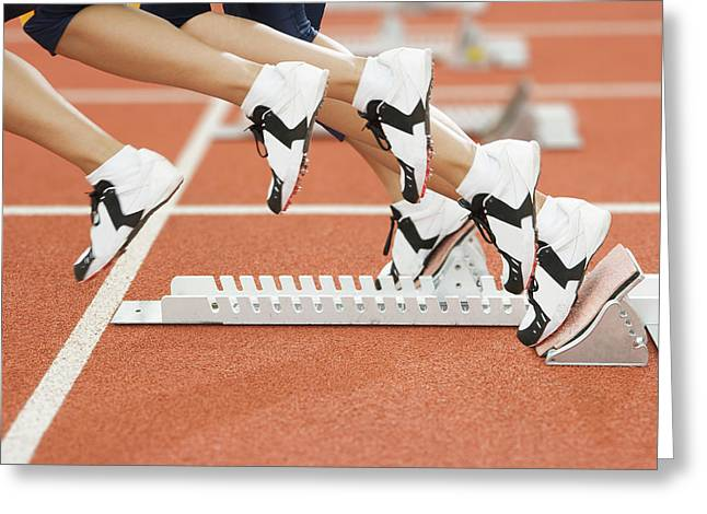 Athlete Leaving The Blocks Greeting Card by Gustoimages/science Photo Library