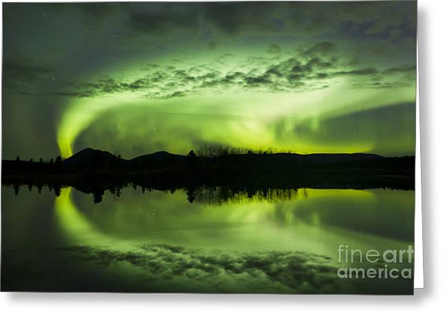 Aurora Borealis Over Fish Lake Greeting Card by Joseph Bradley
