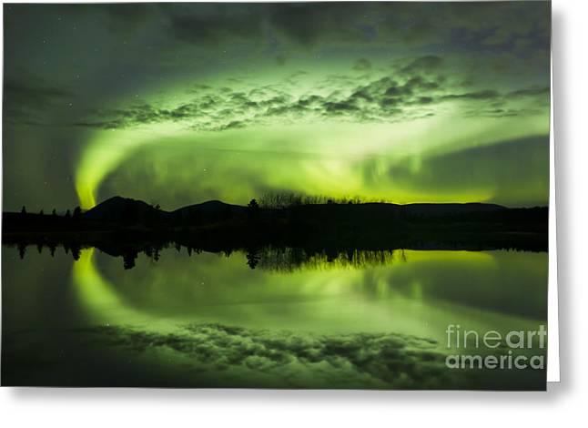 Aurora Borealis Over Fish Lake Greeting Card by Joseph Bradley