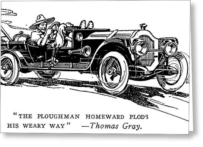 Automobile Cartoon, 1914 Greeting Card by Granger