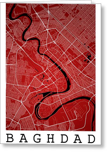 Baghdad Street Map - Baghdad Iraq Road Map Art On Color Greeting Card by Jurq Studio