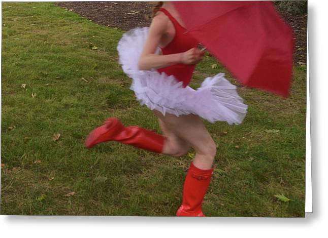Ballerina In Red Greeting Card by
