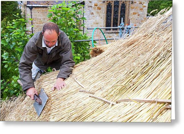 Barn Being Rethatched In Dorset Greeting Card